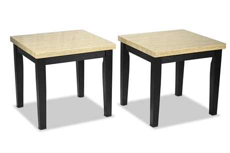 Faux Travertine Side Tables