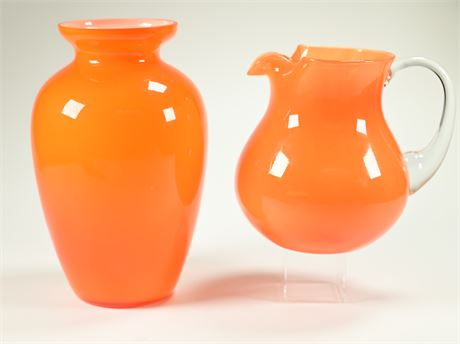 Blown Glass Vase and Pitcher