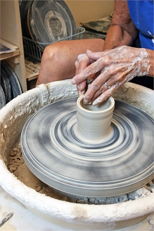 Learn to make pottery on a wheel!