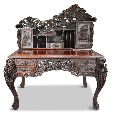 Early 20th Century Highly Carved Chinese Desk