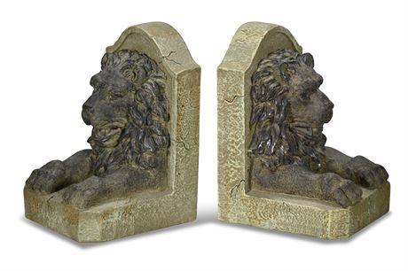 Cast Resin Lion Bookends