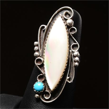 Vintage Navajo Sterling and Mother of Pearl Ring, Size 5.5