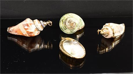 (4) Shell Pendants with Gold Accents