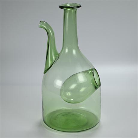 Vintage Blown Green Glass Porron Wine Decanter Chiller