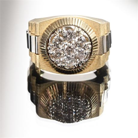 Massive Heavy Solid 14K, 1.40 cttw Diamond Rolex Presidential Style Ring