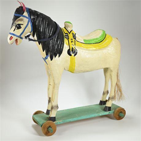 Vintage Mexican Folk Art Papier Mache Horse on Wheels