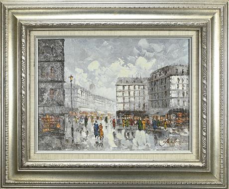 Vintage Fontaine Cityscape Oil  Painting