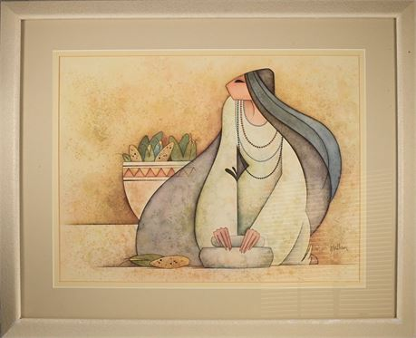 Mujer Con Metate