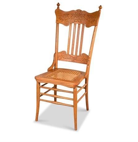 Antique Oak Pressed Back Chair