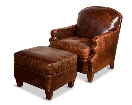High End Leather Club Chair and Ottoman