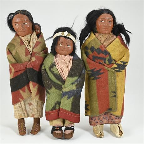 Vintage Skookum Doll Family