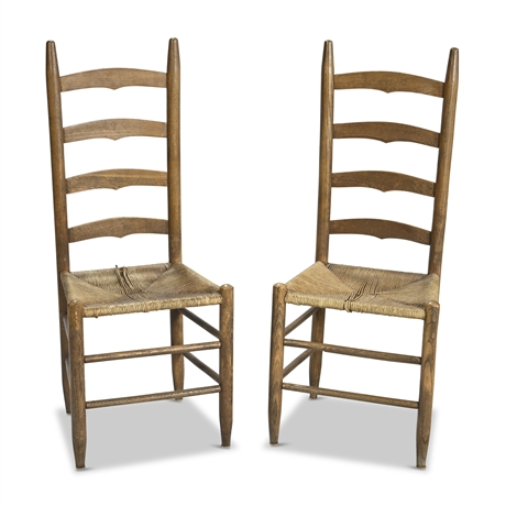 Pair Antique Ladder Back Chairs