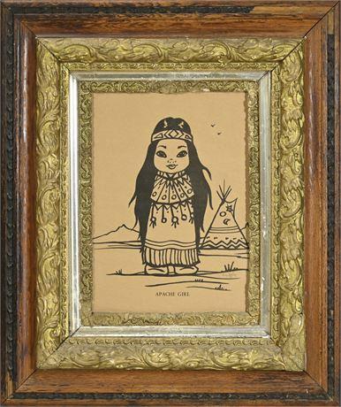 Apache Girl Lithograph by Gerda Christoffersen