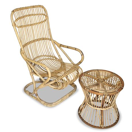 Mid-Century Rattan and Bamboo Italian Armchair and Side Table