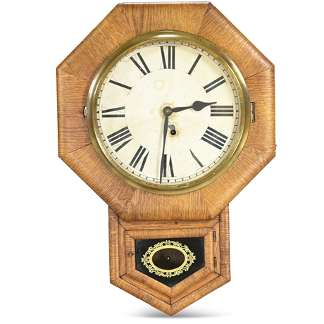 Antique Tiger Oak Ansonia Wall Clock