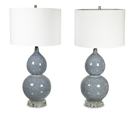 As Is Pair Contemporary Blue Crackle Glass Lamps