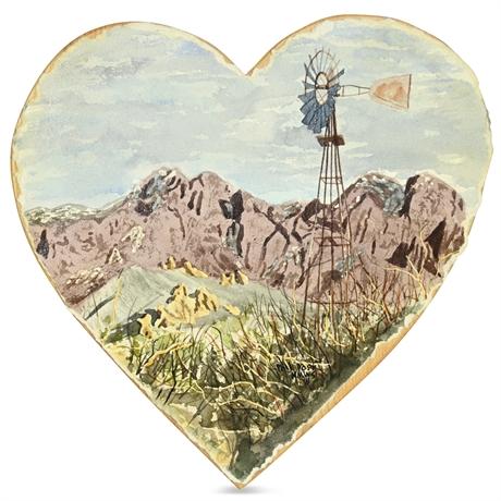 "Phil Yost Watercolor on Heart Panel ""Organ Windmill"""