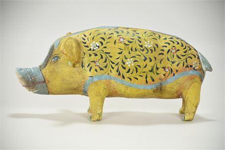 Vintage Mexican Folk Art Piggy Bank