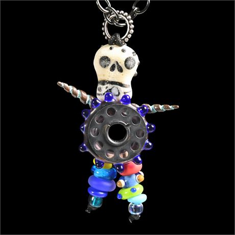 Day of Dead Found Object Necklace and Pendant
