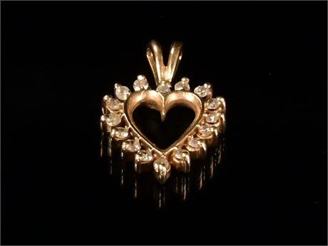 Petite 10k Diamond Heart Pendant
