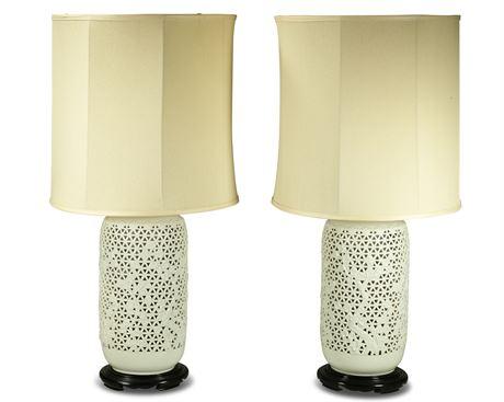 Pair Japanese Blanc de Chine Porcelain Lamps