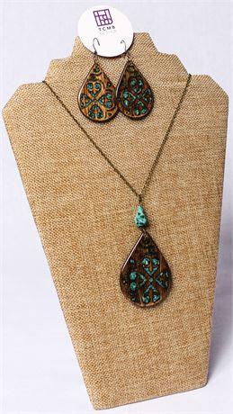 Spanish Tile Wooden Necklace & Earring Set