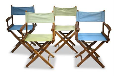 (4) Pier 1 Classic Folding Wood Directors Chairs