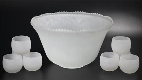Vintage Princess House Frosted Glass Punch Bowl Set