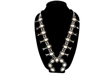 Classic Navajo Mother of Pearl and Sterling Silver Squash Blossom