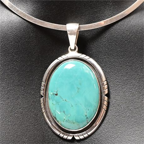 Navajo Sterling Silver Turquoise Charles Albert Necklace and Pendant