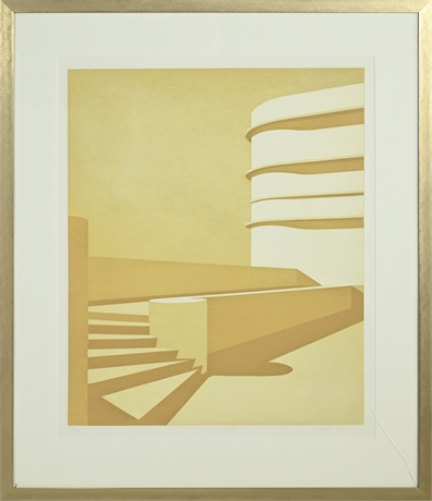"""Frances Myers """"Midland Signs"""" Color Aquatint on Paper"""