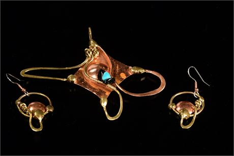 Robert Hale Copper Pendant and Earrings