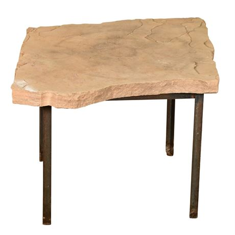 Flagstone and Iron Side Table
