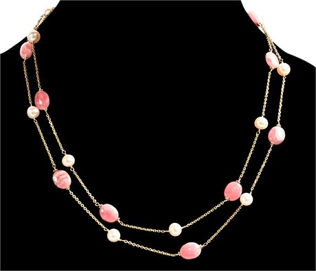 14K Pearl and Rose Quartz Necklace