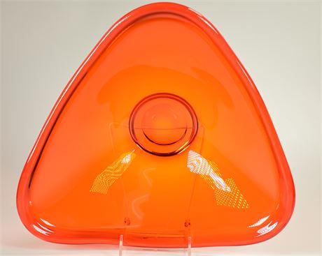 Mid-Century Persimmon Art Glass Centerpiece Bowl