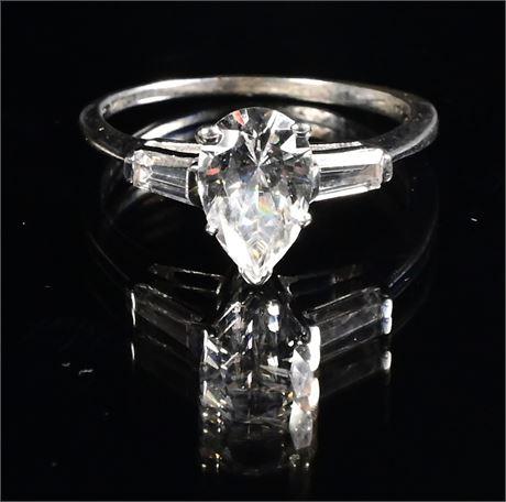 14K White Gold CZ Ring