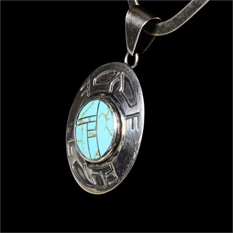 Turquoise and Sterling Silver Turtle Inlay Pendant