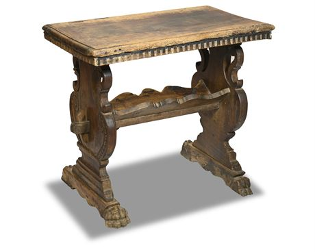 Italian 1800's Walnut Trestle Base Low Side Table with Carved Scoop Patterns
