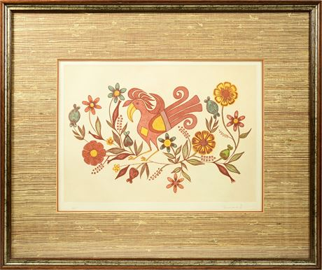 "Santa Clara Pueblo Aquatint Etching ""Acoma Rooster"" by Helen Hardin"