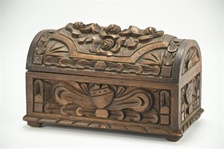 Vintage Gothic Style Carved Wood Box