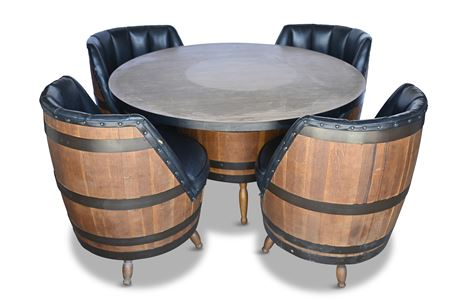 1970's Oak Whiskey Barrel Pub Table and Chairs