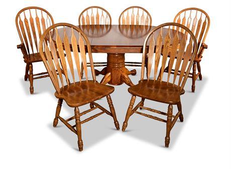 Classic Oak Pedestal Dining Set