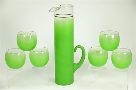 Mid-Century Blendo Cocktail Pitcher with 6 Roly Poly Glasses
