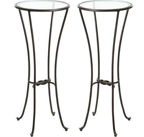 Pair Black Iron Knot Pedestal Tables