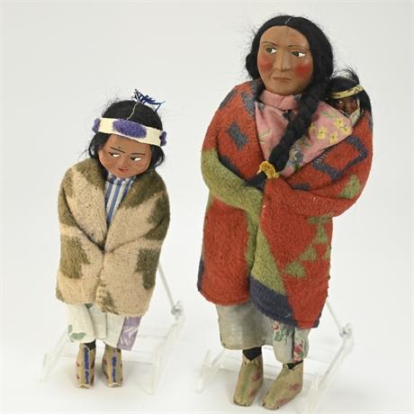 Pair Vintage Skookum Dolls