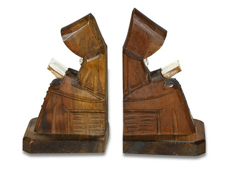 Carved Monk Bookends