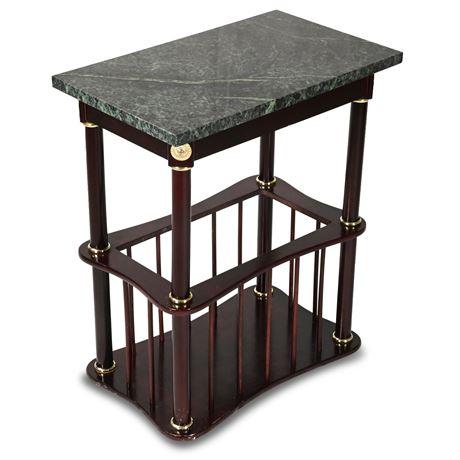 Marble Side Table/Magazine Rack