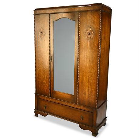English Antique Tiger Oak Jacobean One Mirror Door Armoire