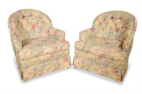 Pair of Custom Upholstered Woodmark Armchairs