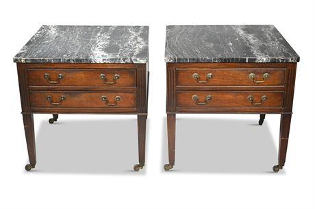 Mahogany Black Italian Marble Side Tables